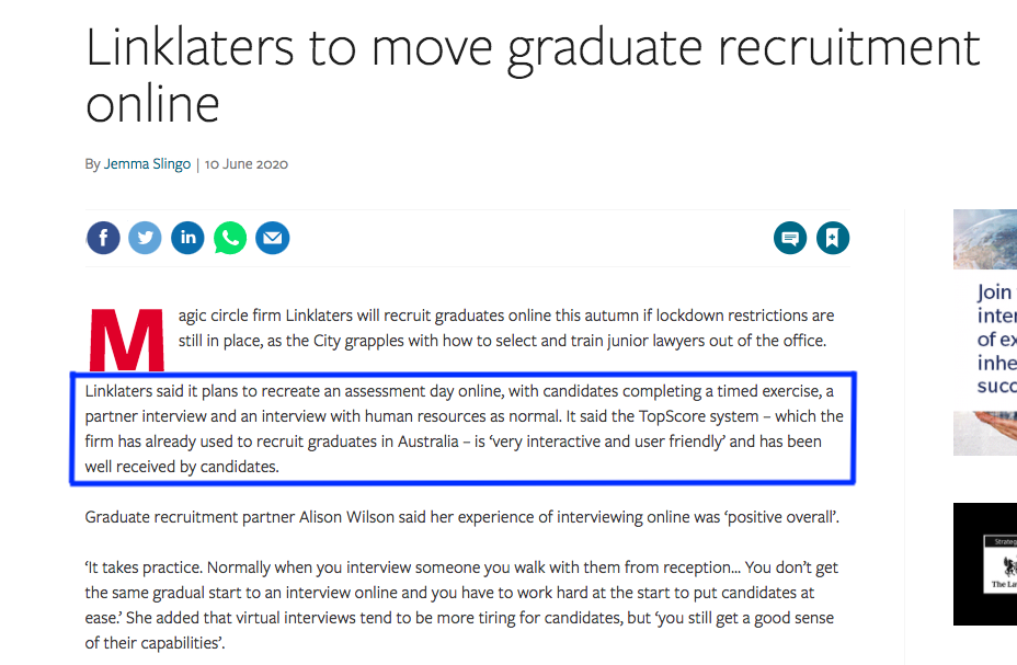TopScore's first online newspaper reference: Linklaters' move to online graduate recruitment